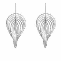 Boucles anneaux diamantés en argent 925 rhôdié (poids 10.85g), long. 4.5cm