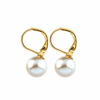 Boucles perle de majorque blanc nacré de 1cm sur dormeuses, hauteur 1.6cm