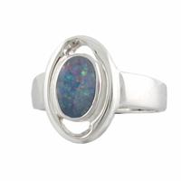 Bague opale bleue & argent 925 rhôdié T. 60