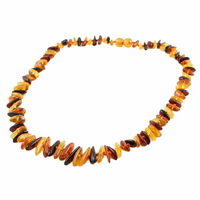 Collier ambre multi, navettes & noeuds intercalaires, long. 45cm