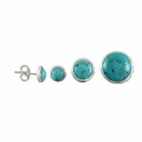 """Boucles turquoise """"extra"""" & argent, diamètre 6mm, 1cm ou 1.5cm"""