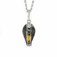 Pendentif serpent ambre & argent 925, hauteur 3.5cm