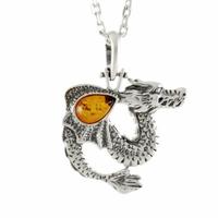 Pendentif dragon ambre cognac & argent, hauteur 3.6cm