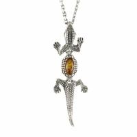 Pendentif crocodile ambre & argent 925 vieilli, longueur 5cm