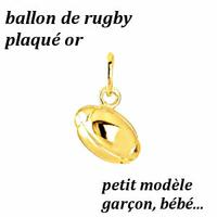 Pendentif ballon de rugby plaqué Or, longueur 1.2cm