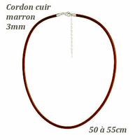Cordon cuir marron 3mm & fermoir argent, réglable de 50 à 55cm