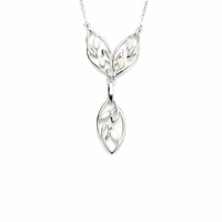 Collier opale blanche & argent 925 rhôdié, régl. 42cm à 45cm.
