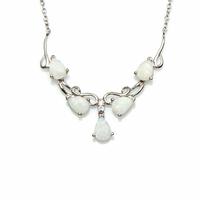 Collier Opale blanche noble & argent 925 rhôdié, régl. jusque 45cm