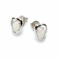 Boucles coeurs opale blanche irisée & argent rhôdié,  puces 1cm
