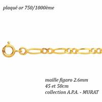 Chaîne maille figaro 2.6mm de large, plaqué or, long. 45 et 50cm