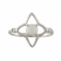 Bague étoile opale blanche d'Australie & argent 925 rhôdié T. 52 au 60