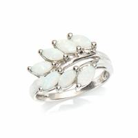 Bague opale blanche & argent 925 rhôdié, T. 52 au 60
