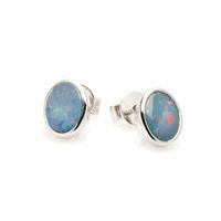 Boucles Opale bleue & argent 925 rhôdié, 7x9mm
