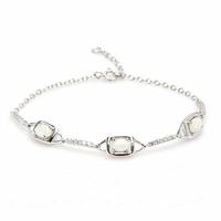 Bracelet opale blanche, oxydes & argent 925 rhôdié, régl. à 17 et 18cm