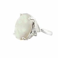 Bague opale blanche & argent 925 rhôdié, 1cmx1.5m, T. 56