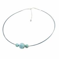 Collier larimar & argent, boules sur câbles bleu nuit, réglable de 43 à 48cm