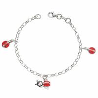 Bracelet coccinelles  & argent rhôdié, réglable jusque 16cm