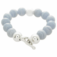 Bracelet calcédoine bleue & argent 925 rhôdié signé MURAT
