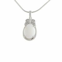 Pendentif opale blanche, oxydes & argent 925 rhôdié, hauteur 2.7cm