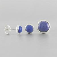 Boucles lapis-lazuli & argent, puces au choix, 7mm ou 1cm