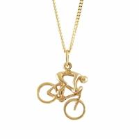 Pendentif cycliste sur vélo de course en plaqué or, haut. 2.8cm