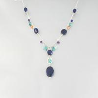 Collier lapis lazuli, multi-pierres & argent, réglable de 42 à 47cm