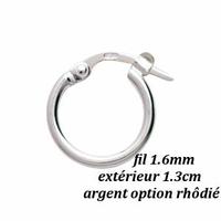 Boucles créoles fil 1.6mm, diamètre extérieur 1.3cm, argent option rhôdié