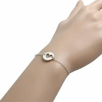 Bracelet argent, coeur ajouré, réglable de 16 à 19.5cm