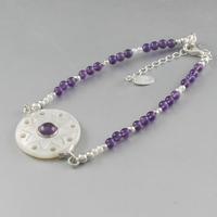 Bracelet nacre, améthyste & argent, réglable de 18 à 21cm