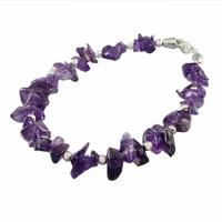 Bracelet améthyste & argent, pierre polies, long. 18.5cm