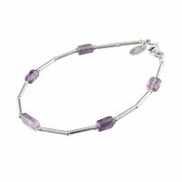 Bracelet améthyste & argent 925, rectangles, longueur 18cm