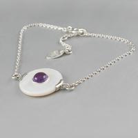 Bracelet améthyste, nacre blanche & argent 925, régl. 17 à 20cm