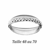 alliance double, croisée 3mm en argent 925 rhôdié, motifs losanges, T. 48 au 70 !
