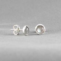 Boucles Labradorite & argent, diamètre 7mm