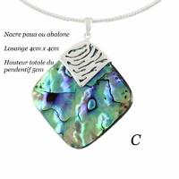 Pendentif nacre paua ou abalone & argent, modèle au choix : hauteur totale 3.4cm ou 5cm