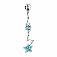 Piercing nombril étoile en argent & tige acier chirurgical, oxydes bleus, haut. 3.5cm