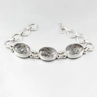Bracelet quartz rutilé noir & argent, réglable jusque 19cm, photo contractuelle