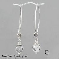 Boucles quartz rutilé noir & argent, hauteur 4.6 et 5cm