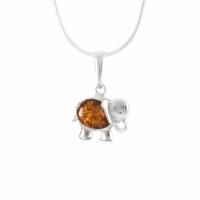 Pendentif ambre & argent, éléphant porte-Bonheur, hauteur 2.3cm