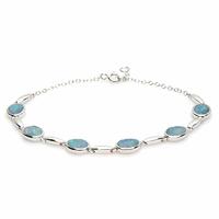 Bracelet 6 opales bleues & argent 925 rhodié, régl. à 17 et 18cm