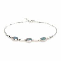 Bracelet 3 opales bleue & argent 925 rhodié, régl. à 17 et 18cm