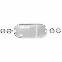 Bracelet plaque GI argent 925, chaîne boules 4mm, régl. de 20 à 22cm, option gravures