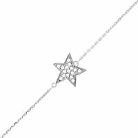 Bracelet étoile en argent rhôdié & oxydes, ajustable à 15 et 18cm