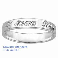 """Alliance ruban 4mm gravée """"I love you"""" en argent 925, T. 48 au 76 ! option gravure intérieure"""