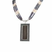 Collier perles d'eau douce, bois, galuchat & argent 925, réglable de 42 à 46cm