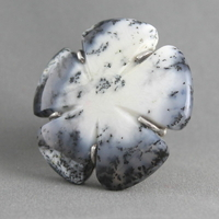 Bague agate dentritique & argent 925 (11g), envergure 4cm, T. 54, photo contractuelle
