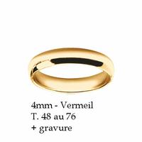 Alliance demi-jonc 4mm en Vermeil (or sur argent), T. 48 au 76, option gravure intérieure