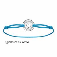 """Bracelet  """"maman on t'aime"""" argent 925, cordon bleu, rouge, marron ou noir, personnalisable au verso"""