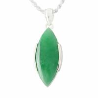 """Pendentif Jade vert """"nature"""" & argent 925, hauteur totale 3.5cm"""