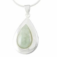 """Pendentif Jade """"vert océan"""" & argent 925, haut. totale 3.2cm"""